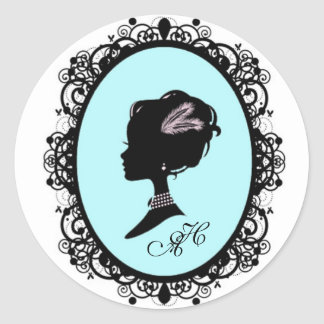 pretty blue cameo round sticker