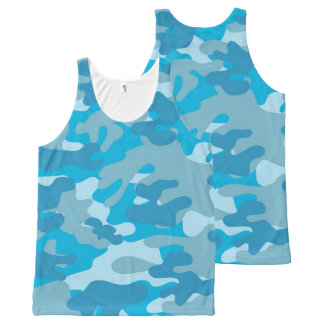 Pretty Blue Camouflage Pattern All-Over-Print Tank Top