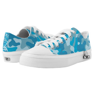 Pretty Blue Camouflage Pattern Low-Top Sneakers