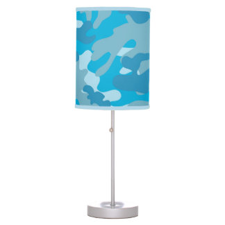Pretty Blue Camouflage Pattern Table Lamp