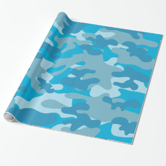 Pretty Blue Camouflage Pattern Wrapping Paper