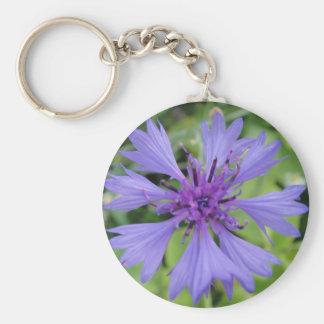 Pretty blue cornflower keychain