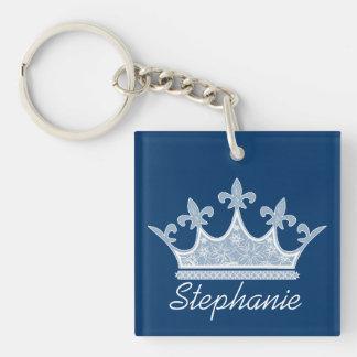 Pretty Blue Crown Custom Key Chain