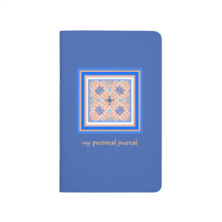 Pretty Blue Curly Insignia Personal Journal