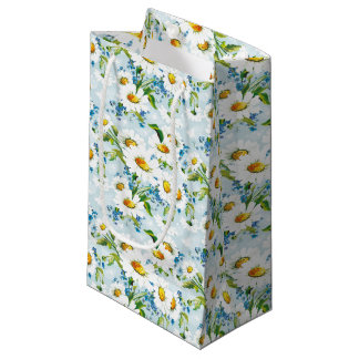Pretty Blue Daisies Pattern Small Gift Bag