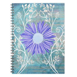 Pretty Blue Daisy Flower Pattern Gifts Notebook