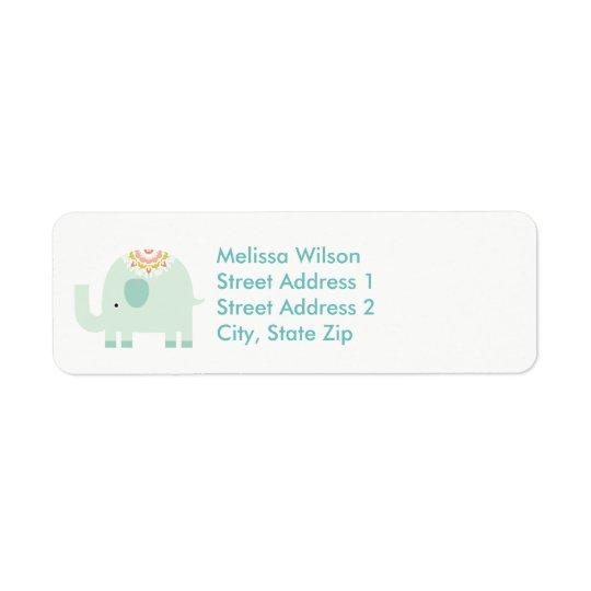 Pretty Blue Elephant Return Address Labels
