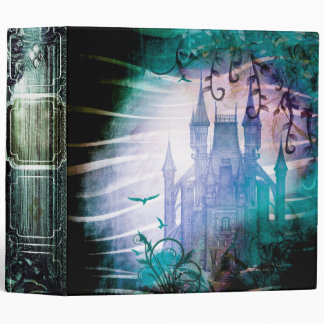 Pretty Blue Fairy Tale Fantasy Garden Castle Vinyl Binders