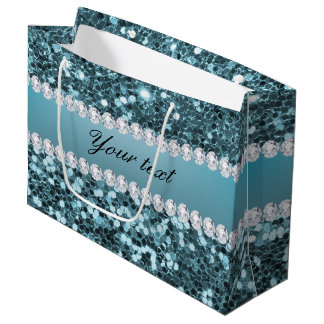 Pretty Blue Faux Glitter and Diamonds Large Gift Bag