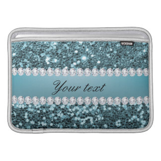 Pretty Blue Faux Glitter and Diamonds MacBook Air Sleeves