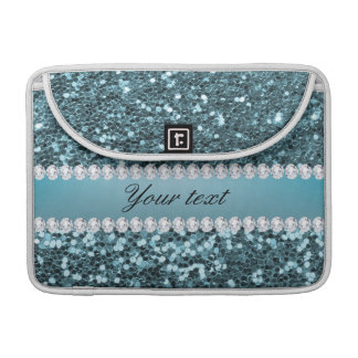 Pretty Blue Faux Glitter and Diamonds Sleeve For MacBooks