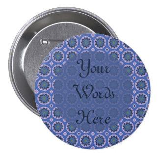 Pretty Blue Floral Pattern 3 Inch Round Button