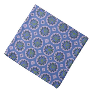 Pretty Blue Floral Pattern Head Kerchief