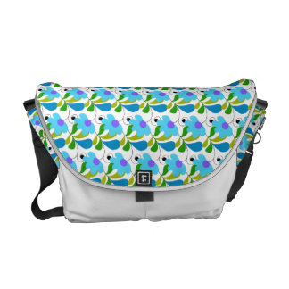 Pretty Blue Floral Pattern Messenger Bags
