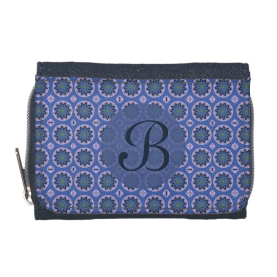 Pretty Blue Floral Pattern Monogram Wallet