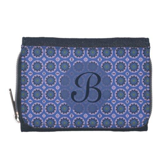 Pretty Blue Floral Pattern Monogram Wallets