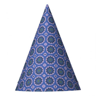 Pretty Blue Floral Pattern Party Hat