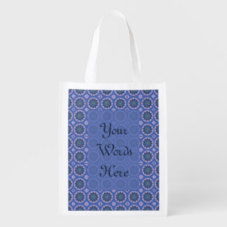 Pretty Blue Floral Pattern Reusable Grocery Bag