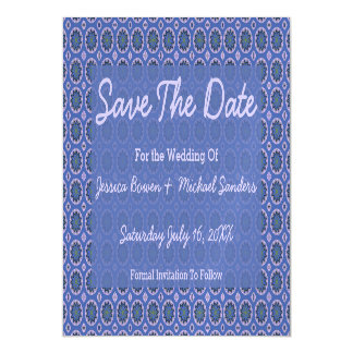 Pretty Blue Floral Pattern Save the Date Magnetic Card