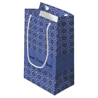 Pretty Blue Floral Pattern Small Gift Bag