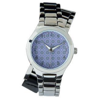 Pretty Blue Floral Pattern Wristwatch