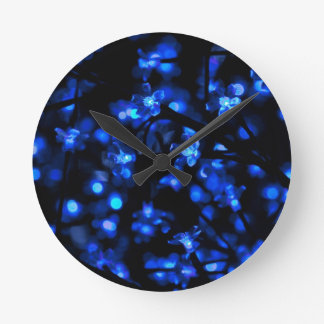 Pretty Blue Flower Lights Round Clock