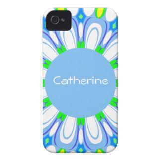 Pretty Blue Flower Retro Monogram iPhone Case