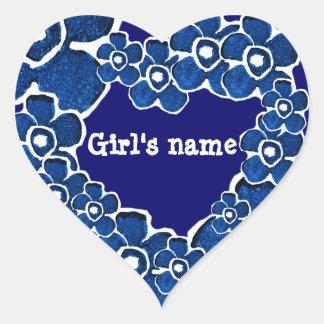 Pretty Blue Flowers Girls Customizable Heart Sticker