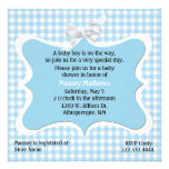 Pretty Blue Gingham Custom Baby Shower Personalized Invites