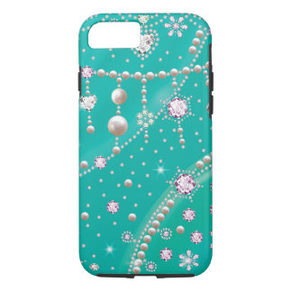 Pretty Blue Glitter Sparkle Flower Diamond Case-Mate iPhone Case