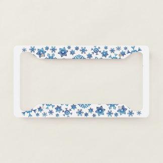 Pretty Blue Glitter Winter Snowflakes Christmas License Plate Frame
