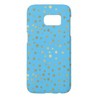 Pretty Blue Gold Confetti Dots Samsung Galaxy S7 Case
