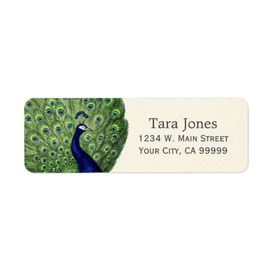 Pretty Blue Green Vintage Peacock Address Labels