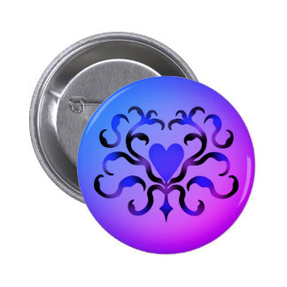 Pretty blue heart 2 inch round button