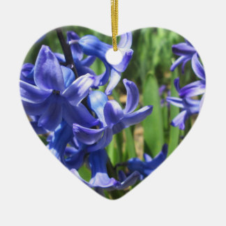Pretty Blue Hyacinth Garden Flower Ceramic Heart Ornament