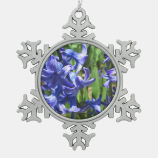 Pretty Blue Hyacinth Garden Flower Pewter Snowflake Ornament