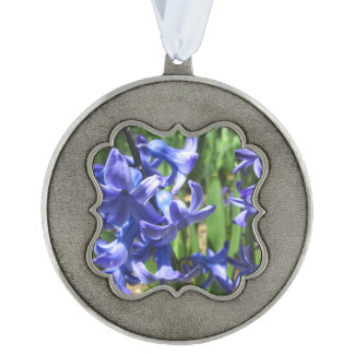 Pretty Blue Hyacinth Garden Flower Scalloped Pewter Ornament