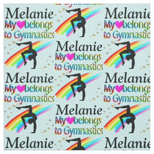 PRETTY BLUE I LOVE GYMNASTICS PERSONALIZED FABRIC