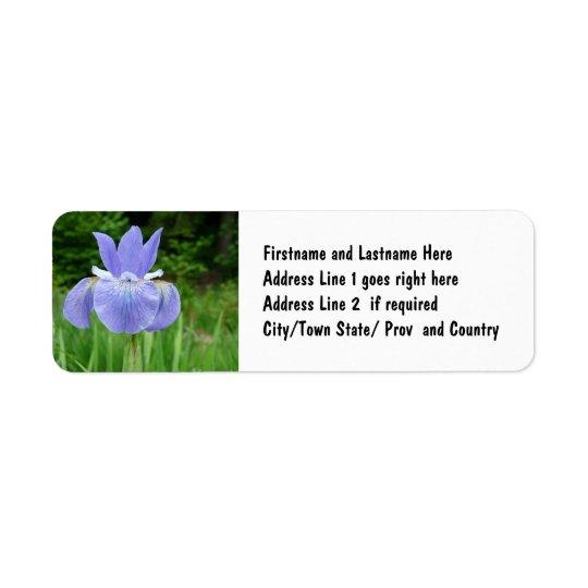 Pretty Blue Indigo Siberian Iris Flower Bloom Return Address Label