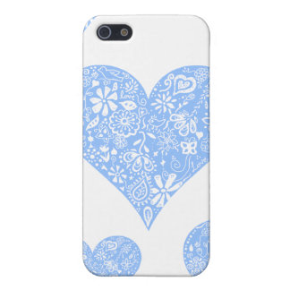 Pretty Blue Lace Heart with delicate white detail Case For The iPhone 5