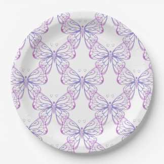 Pretty Blue Mauve and Pink Butterfly Art 9 Inch Paper Plate