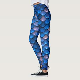 Pretty  Blue Mermaid Fish Scales Leggings