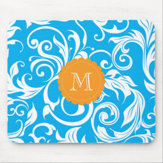 Pretty Blue Monogram Floral Wallpaper Turquoise Mouse Pad