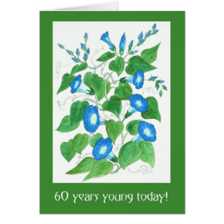 Pretty Blue Morning Glory Flowers 60th Birthday Card