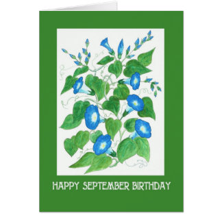 Pretty Blue Morning Glory September Birthday Card