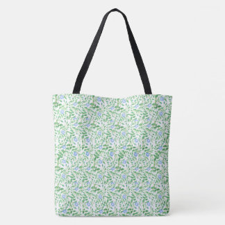 Pretty Blue Periwinkle Floral on White Background Tote Bag