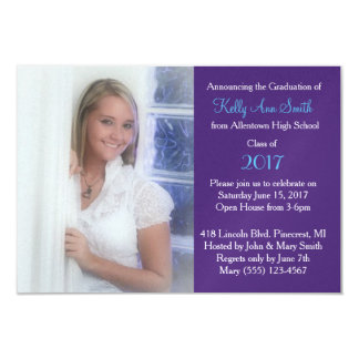 Pretty Blue & Purple Grad Party Invite & Photo