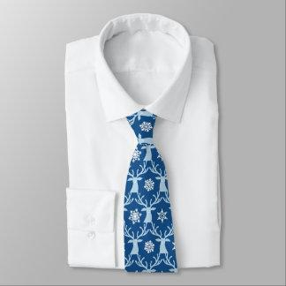 Pretty Blue Reindeer Snowflake Holiday Tie