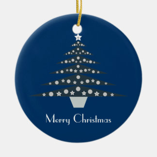 Pretty Blue Retro Christmas Tree Ornament