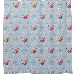 Pretty Blue Ribbons Rose Floral Vintage Wallpaper